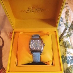 Adee Kaye Pearlized Face Watch Periwinkle Blue